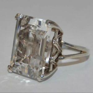 Vintage SS Huge Rock Crystal Quartz Ring 6.5